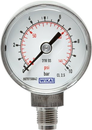 Pressure gauge, vertical, Ø 40, 50 mm nickel chromium steel, Class 2.5