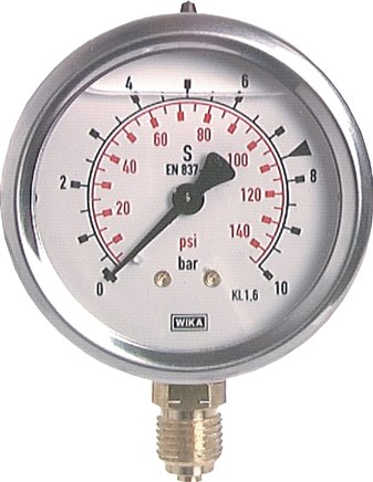 Glycerine pressure gauge vertical Ø 63 mm nickel chromium steel / brass, Class 1.6