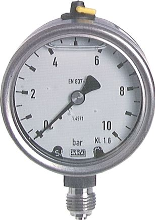 Glycerine pressure gauge, vertical, Ø 63 mm, Chemical version, Class 1.6