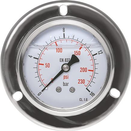 glycerine built-in pressure gauge, front ring, 63 mm, 0 - 0,6 bar (MSE 0663 GLY CRE)