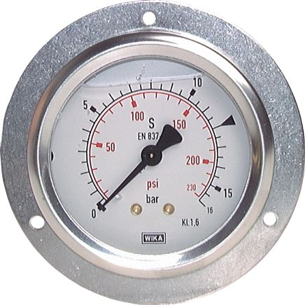 Glycerine built-in pressure gauge with large front ring for panel mounting, Class 1,6 / 1,0