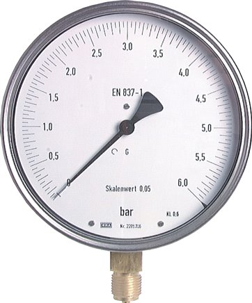 Precision pressure gauges, vertical, Ø 160 mm, nickel chromium steel / brass,  Class 0.6