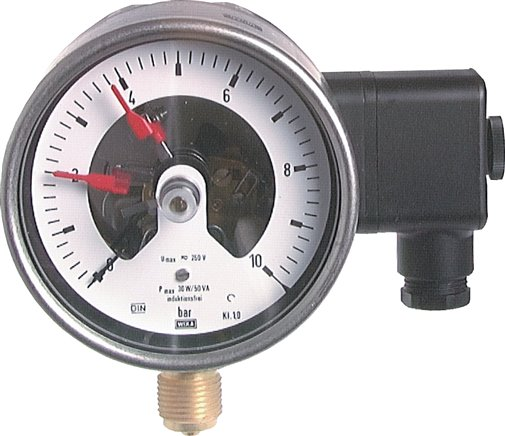 Contact pressure gauge, vertical, Ø 100, 160 mm nickel chromium steel/brass, Class 1.0
