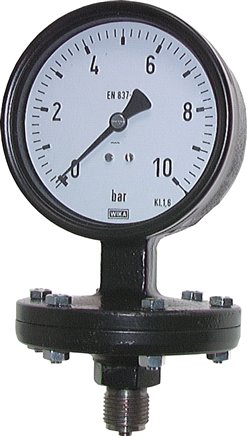 Plate spring pressure gauge Ø 100 mm, Industrial design, Class 1.6