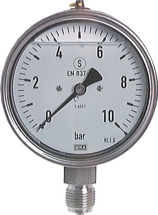 Glycerine safety pressure gauge vertical Ø 100 mm, Class 1.0