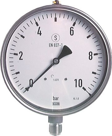 Safety pressure gauge Ø 160 mm, Class 1.0