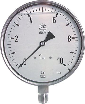 Glycerine safety pressure gauge vertical Ø 160 mm, Class 1.0
