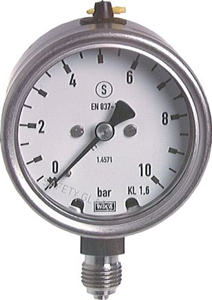 Safety pressure gauge Ø 63 mm, Class 1.6