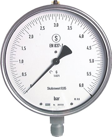 Precision safety pressure gauges, vertical, Ø 160 mm-Class 0.6