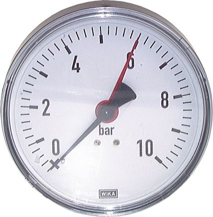 Pressure gauge, horizontal, Ø 80, 100 mm, Class 2.5