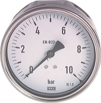 Pressure gauge, horizontal, Ø 100 mm nickel chromium steel/brass, Industrial design, Class 1.0