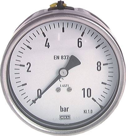 Pressure gauge, horizontal, Ø 63, 100 mm, for chemicals, Class 1.6 / 1.0
