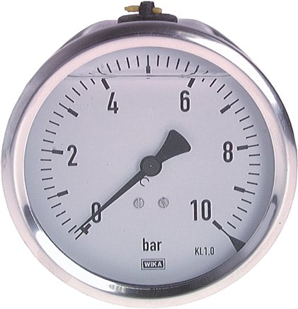 Glycerine pressure gauge horizontal Ø 100 mm nickel chromium steel / brass,  Class 1.0