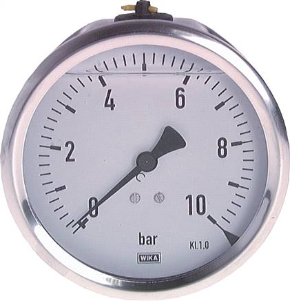 Glycerine pressure gauge horizontal Ø 100 mm, Chemical version, Class 1.0
