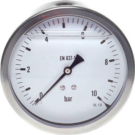 Glycerine pressure gauge horizontal Ø 100 mm nickel chromium steel/brass, Eco-Line