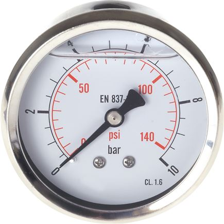 Glycerine pressure gauge horizontal Ø 63 mm nickel chromium steel/brass, Eco-Line