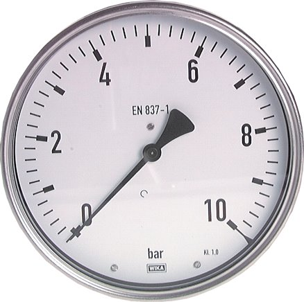 Horizontal pressure gauge Ø 160 mm nickel chromium steel/brass, robust, Class 1.0