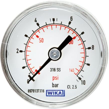Pressure gauge, horizontal, Ø 40, 50 mm nickel chromium steel, Class 2.5