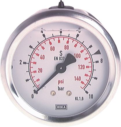 Glycerine pressure gauge horizontal Ø 63 mm nickel chromium steel / brass,  Class 1.6