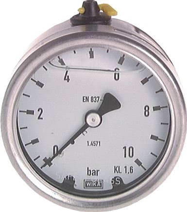 Glycerine pressure gauge horizontal Ø 63 mm, Chemical version, Class 1.6