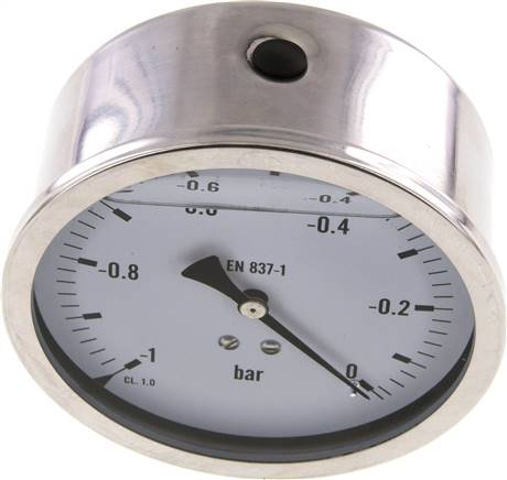 glycerine pressure gauge horizontal (CrNi/Ms), 100 mm, -1 bis 0 bar (MW -1100 GLY CRE)