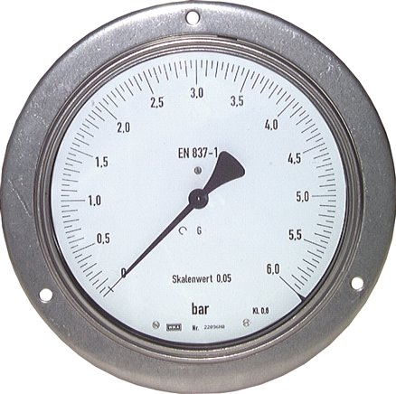 Precision pressure gauges, horizontal, Ø 160 mm, nickel chromium steel / brass, Class 0,6