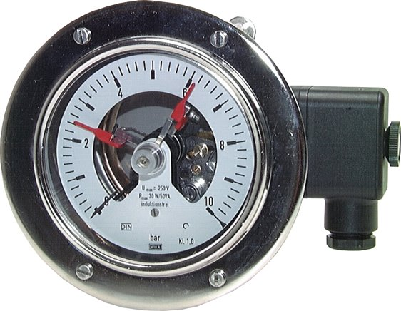 Contact pressure gauge, horizontal Ø 100, 160 mm nickel chromium steel/brass, Class 1.0