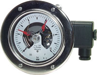 Stainless steel safety contact pressure gauge, horizontal Ø 100 mm-Class 1.0
