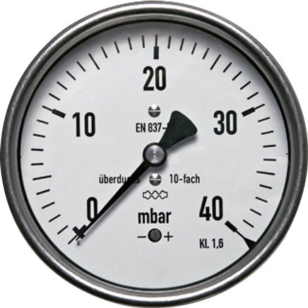 Pressure gauges with capsule elements, horizontal, up to 10x overload, mbar