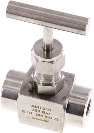 "Needle shut-off valve, stainless steel, G 1/4"", PN 300 (ECO) (NADEL 14 ES E)"