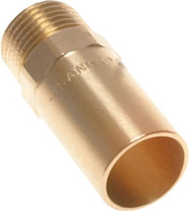 Transition socket nipple with exterior press end and male thread