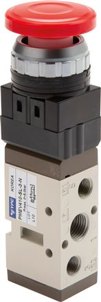 "5/2-way button activated valves & rotary switch G 1/4"" (Ø 30.5), Series PMEV400"