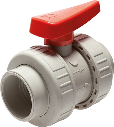Ball valves with welding collar PP-H industrial version , PN 10