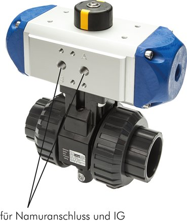 PVC-U ball valves with pneumatic rotary actuators, up to 16 bar