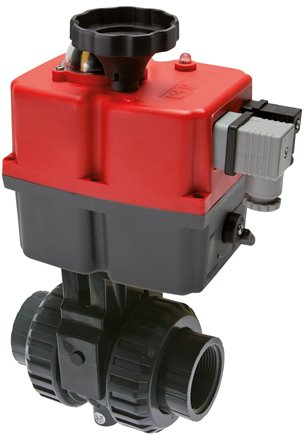 PVC-U ball valves with electric rotary actuators, up to 16 bar