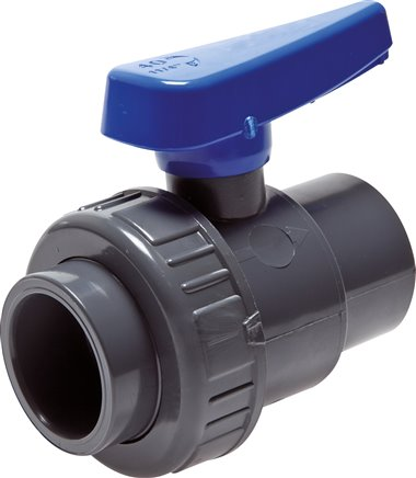 Single ring adhesive socket ball valves PVC-U water version, up to 16 bar