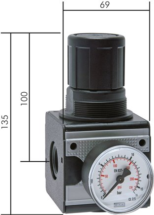 Pressure regulator and precision pressure regulator for model series 2, 8700 l/min****