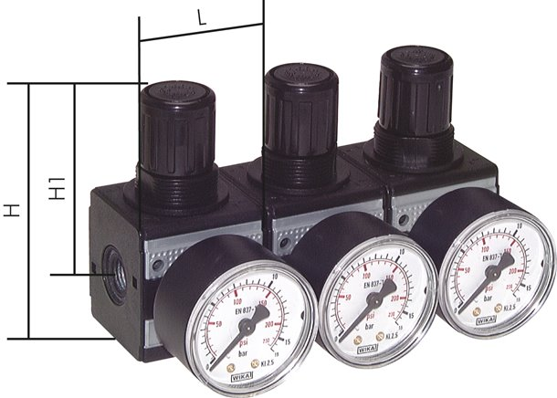 Pressure regulators for pressure entry points on both sides, up to 8500 l/min***