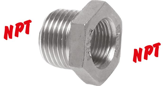 Reducing nipple with NPT thread, PN 16