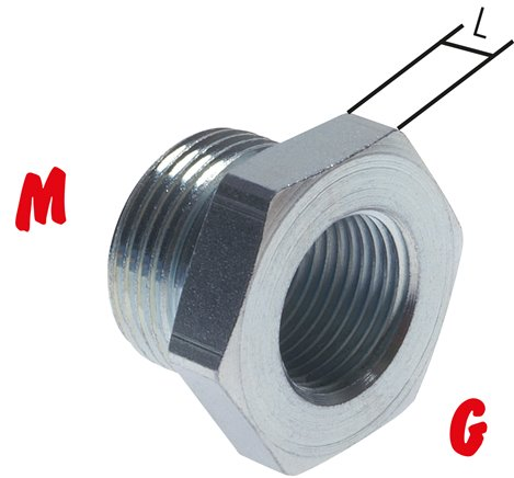 Reducing nipple with metric thread / G thread, up to 315 bar