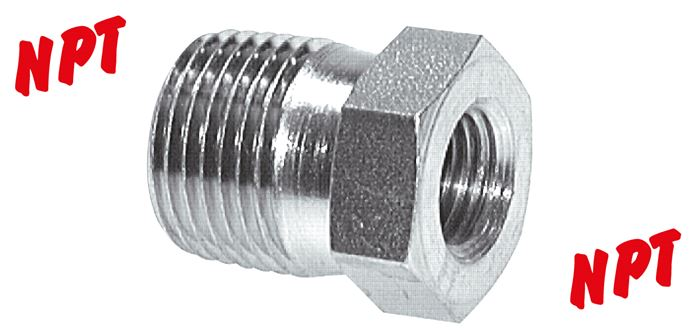 Reducing nipple with NPT-thread, up to 275 bar