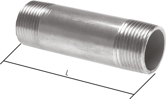 Double pipe nipple similar to EN 10241 (DIN 2982), up to 50 bar