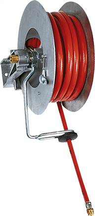 Automatic hose reel for compressed air, up to 15 bar