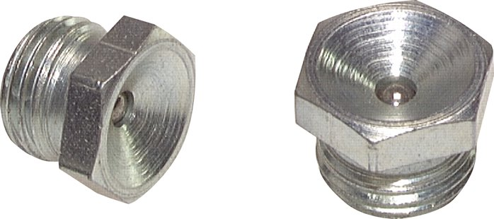 Straight funnel type grease nipple, DIN 3405 A