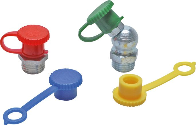 Plastic safety caps for cone grease nipples