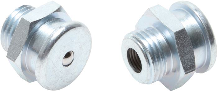 Straight flat grease nipple, head diameter 22 mm, DIN 3404