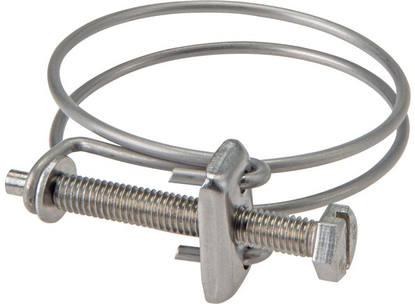 Wire hose clamps for mounting hoses with spiral inlay