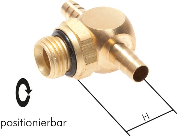 Rotatable T-push on fittings for PU-, PUN- and PA hose