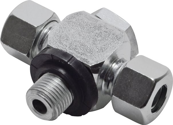 Non-choking T-type swivel screw connections (metric) with O-ring seals