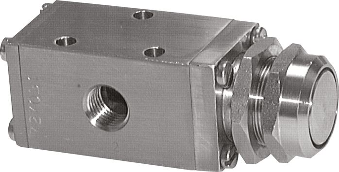 3/2-way push button valves made of stainless steel